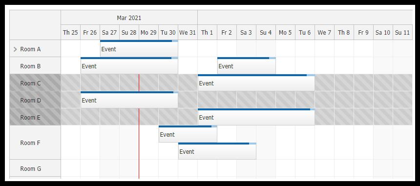 javascript scheduler row selecting