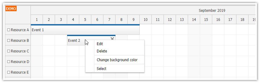 Event Context Menu - Scheduler | DayPilot Documentation
