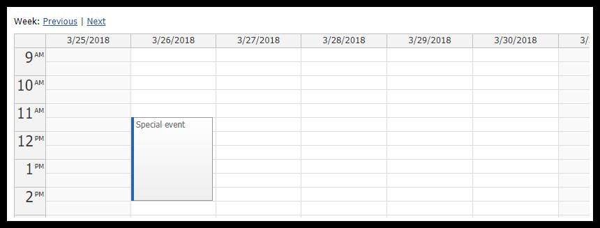Next and Previous Buttons - Event Calendar | DayPilot