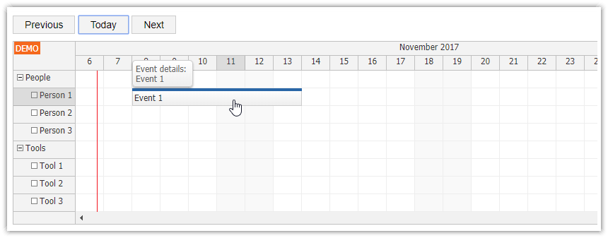 Infinite Scrolling - Scheduler | DayPilot Documentation - Scheduling