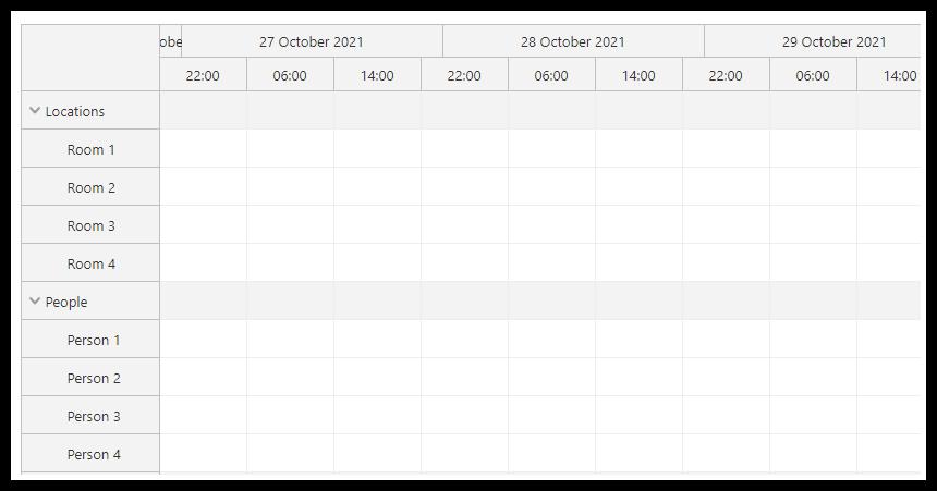 javascript scheduler timeline custom shifts