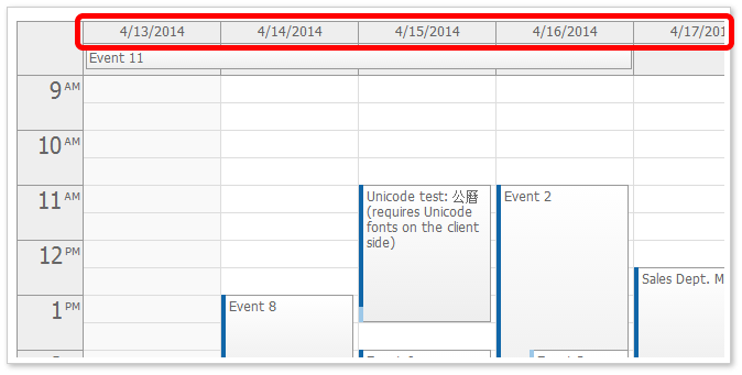 Column header height event calendar daypilot for Html table column header